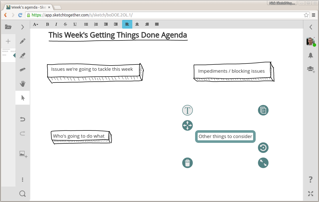 A SketchTogether screenshot of a meeting agenda