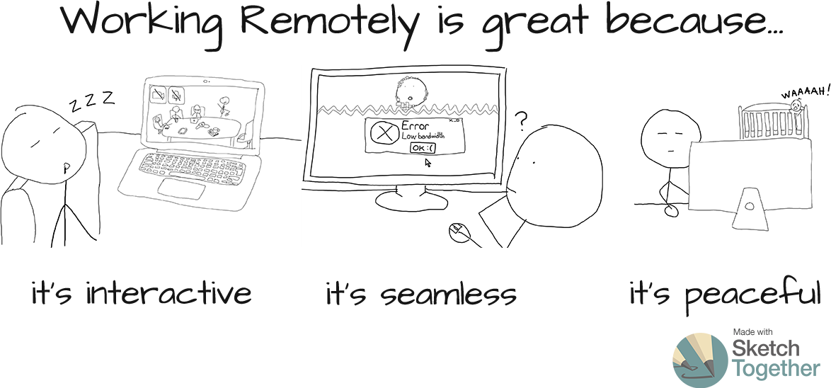 Working remotely is great because... It's interactive, It's seamless, It's peaceful