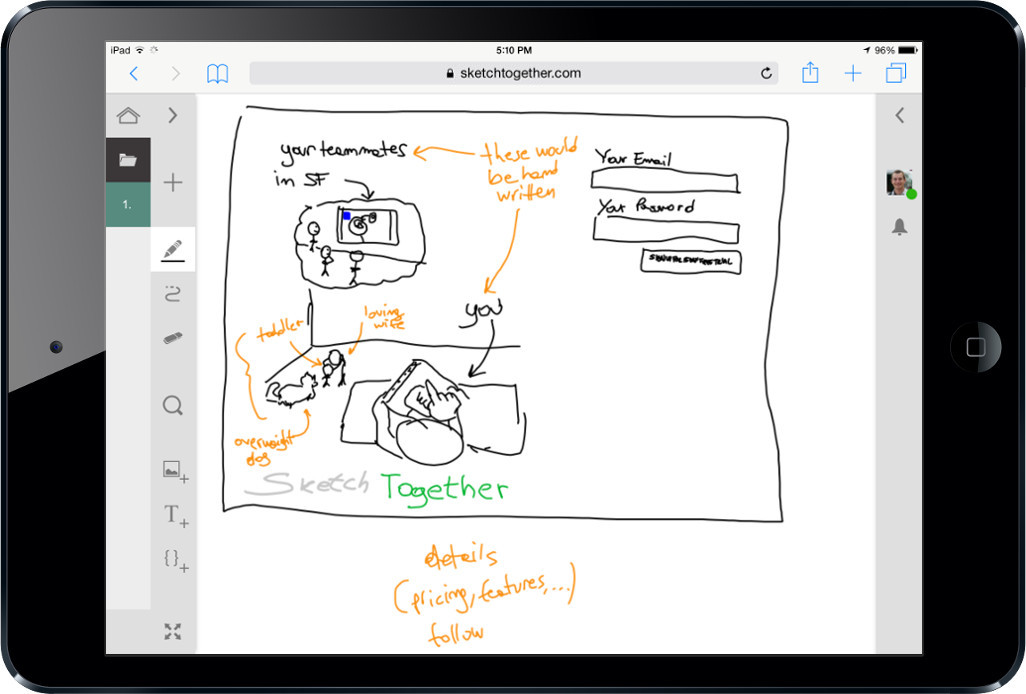 A tablet displaying a sketch in SketchTogether